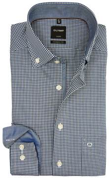 Olymp overhemd navy geruit button down