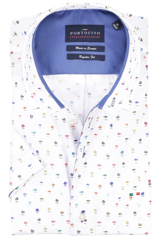 Shirt Portofino korte mouw regular fit multicolor