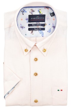 Shirt Portofino korte mouw regular fit linnen roze