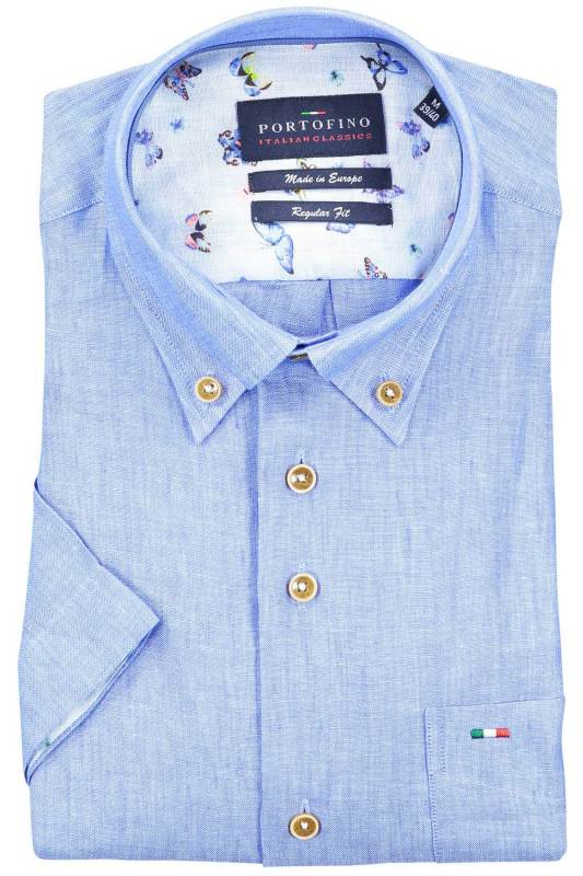 Shirt Portofino korte mouw regular fit blauw