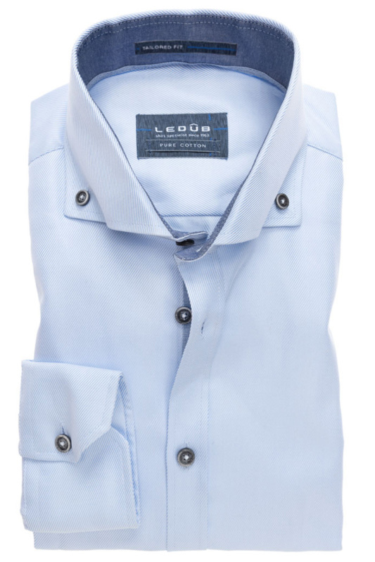 Ledub overhemd pure cotton blauw Tailored Fit