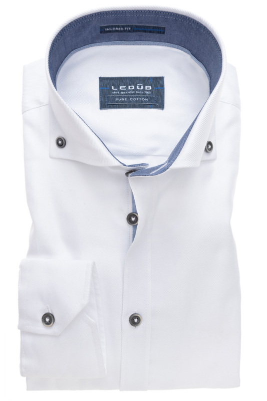 Button down Ledub overhemd wit pure cotton
