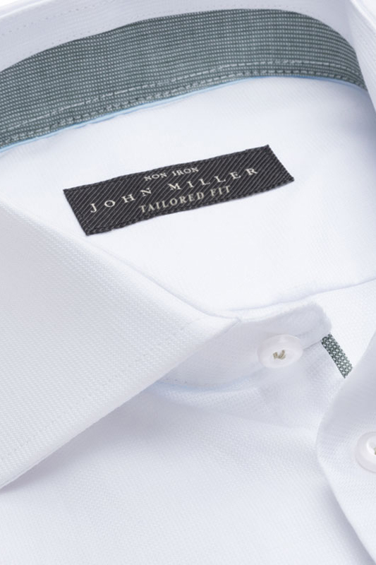 John Miller non-iron overhemd tailored fit wit
