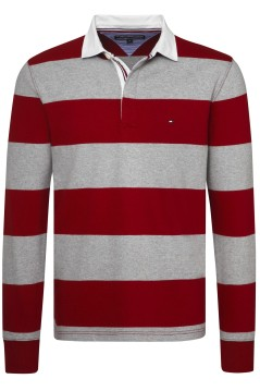 Tommy Hilfiger rugby trui rood grijs gestreept