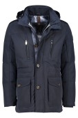 Fortezza colbertlengte jack donkerblauw capuchon