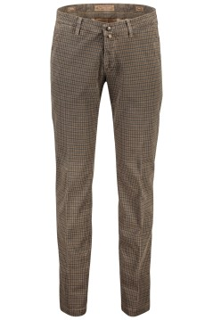 Four.ten Industry slim fit broek geruit bruin