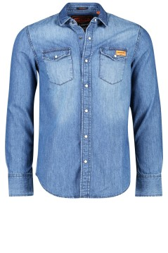 Overhemd Superdry blauw denim look