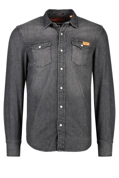 Superdry denim shirt zwart borstzakken