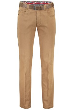Meyer pantalon Dubai met riem camel 5-pocket