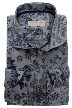 John Miller donkerblauw hemd print tailored fit
