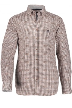 State of Art casual shirt bruin print met stretch