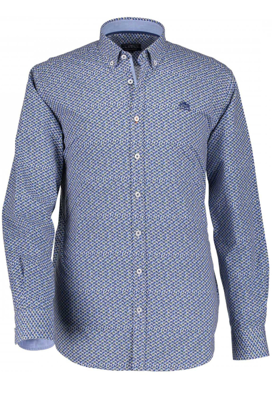 State of Art blauw overhemd print button down