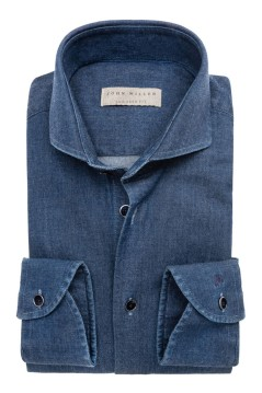 John Miller denim shirt tailored fit blauw