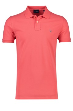 Gant polo watermeloen rood regular fit katoen