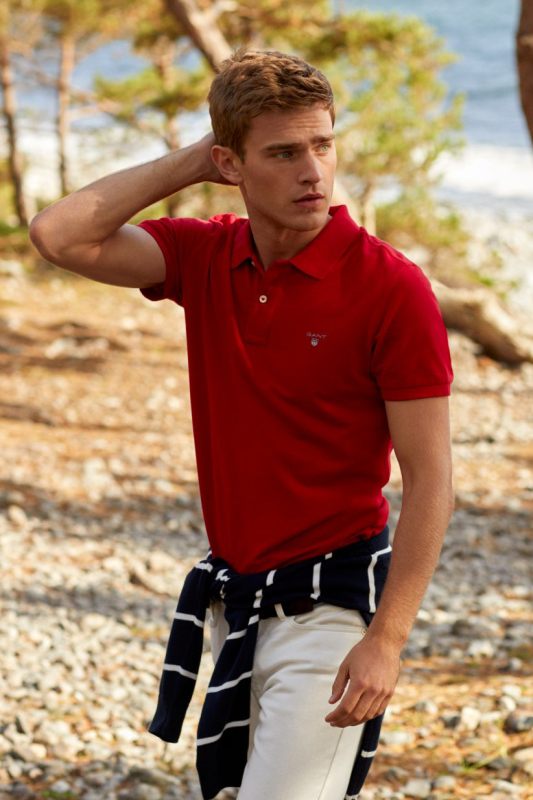 Gant polo katoen regular fit donkerrood melange