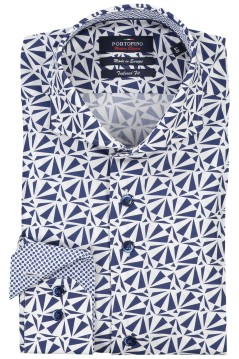 Portofino overhemd Tailored Fit blauwe print
