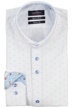 Portofino Tailored Fit shirt wit lichtblauwe print