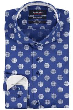 Portofino overhemd Tailored fit blauw print stip