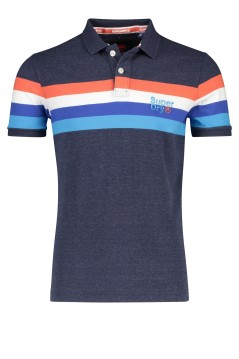 Superdry polo navy rood wit blauw strepen