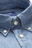 Overhemd Eton blauw denim Slim Fit