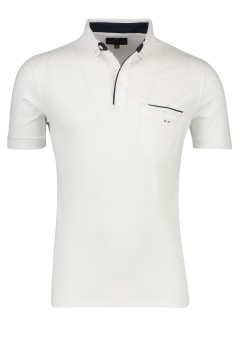 Portofino polo wit paspelzak button-down kraag