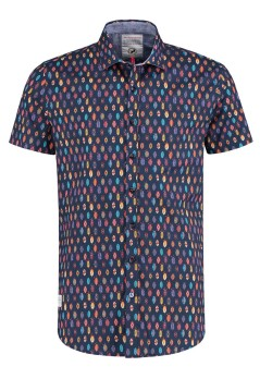 A Fish Named Fred shirt korte mouw navy print