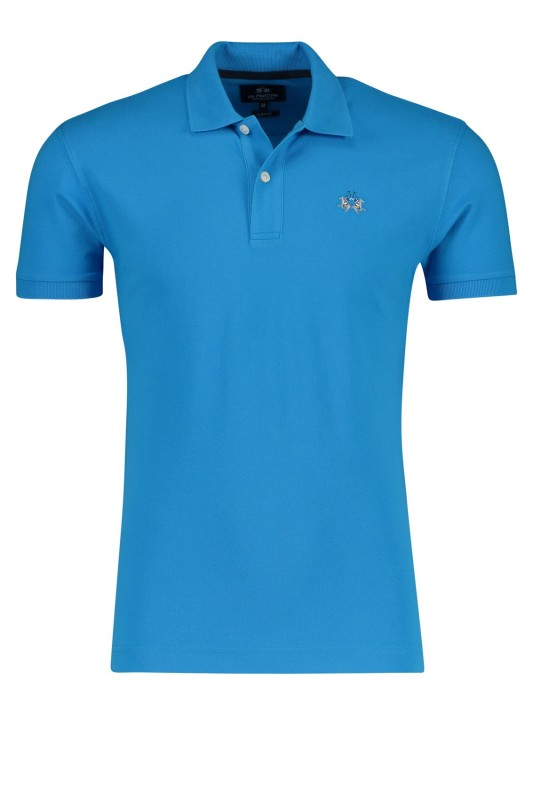 La Martina slim fit poloshirt hemelsblauw stretch