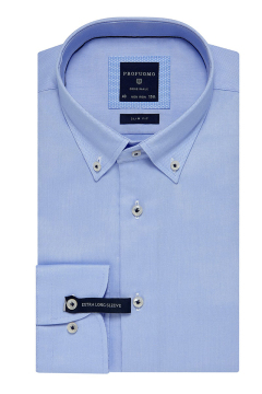 Profuomo overhemd mouwlengte 7 blauw Slim Fit