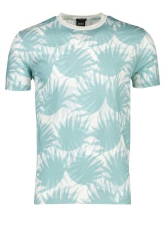 Hugo Boss t-shirt ronde hals print groen stretch