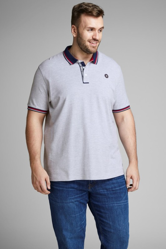 Jack & Jones Plus Size polo grijs korte mouw