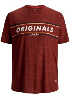 Jack & Jones Plus Size t-shirt rood ronde hals