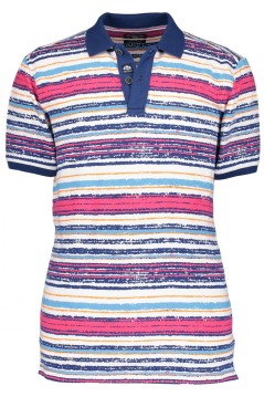 State of Art polo blauw roze gestreept