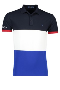 Ralph Lauren slim fit polo banen navy wit blauw