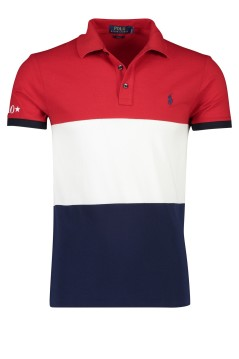Ralph Lauren polo slim fit rood wit navy banen