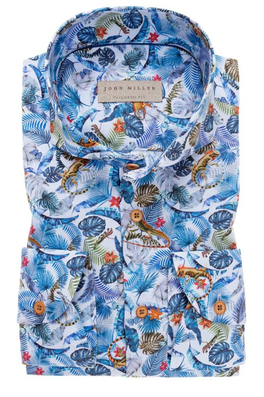 John Miller shirt Tailored Fit blauw jungleprint
