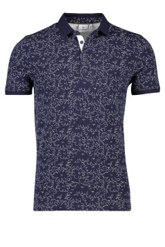 Blue Industry polo navy bloemenprint stretch