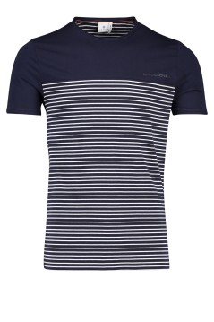 Blue Industry t-shirt navy wit streepje ronde hals