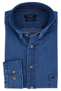 Overhemd blauw denim Giordano Regular Fit