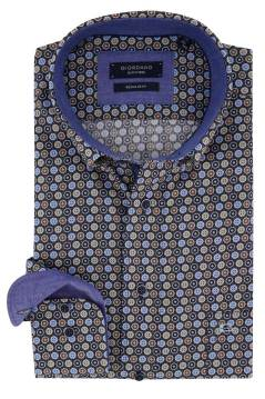 Blauw geprint shirt Giordano Regular Fit