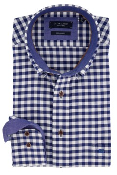 Giordano shirt blauw wit geruit Regular Fit