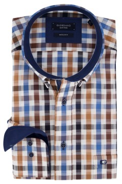 Giordano shirt blauw bruin geruit Regular Fit