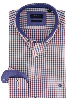 Giordano shirt blauw rood geruit Regular Fit