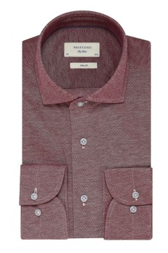 Overhemd Profuomo rood structuur Slim Fit