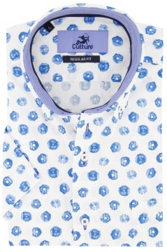 Culture shirt korte mouw print blauw Regular Fit