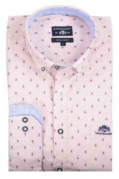 State of Art hemd oud roze print regular fit