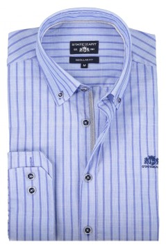 State of Art shirt blauw gestreept regular fit