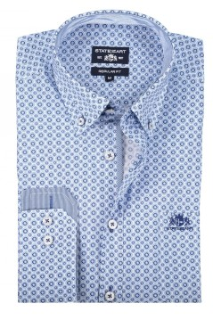 State of Art shirt blauw print met stretch