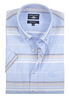 State of Art casual shirt blauw korte mouw