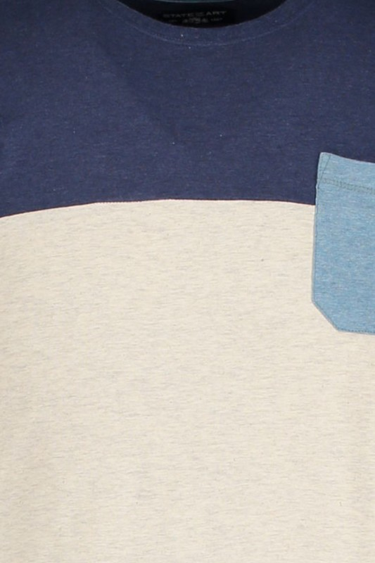 State of Art T-shirt blauw beige