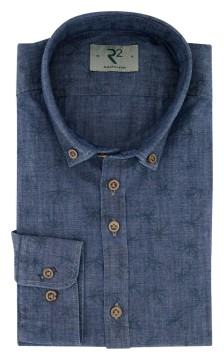R2 shirt denim donkerblauw